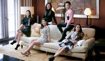From left: Tanyatip Chearavanont, Jasmine Chen (standing), Amanda Cheung, Tiffany Chan and Rebekah Yeoh