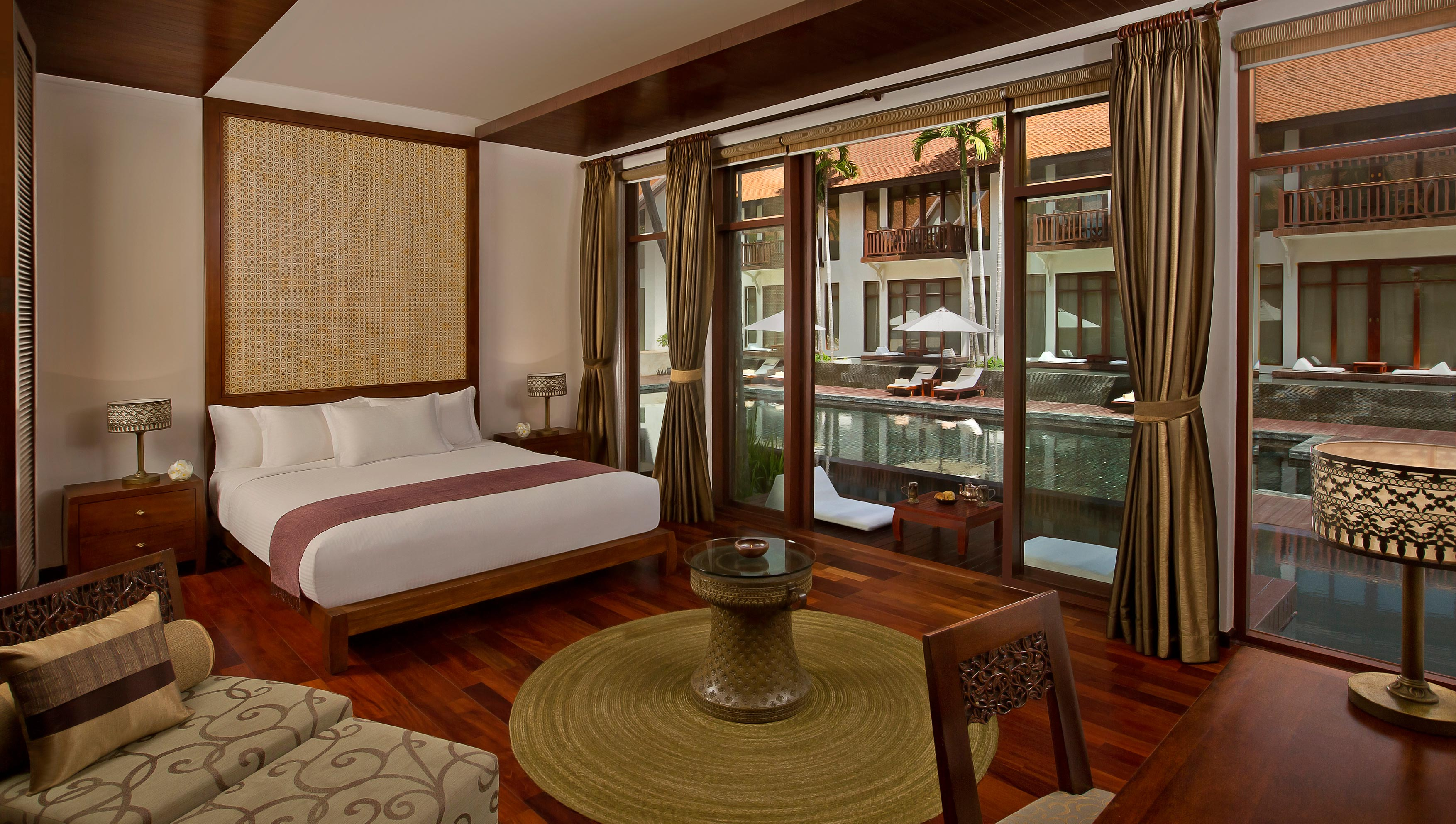 A deluxe room at the Anantara Angkor