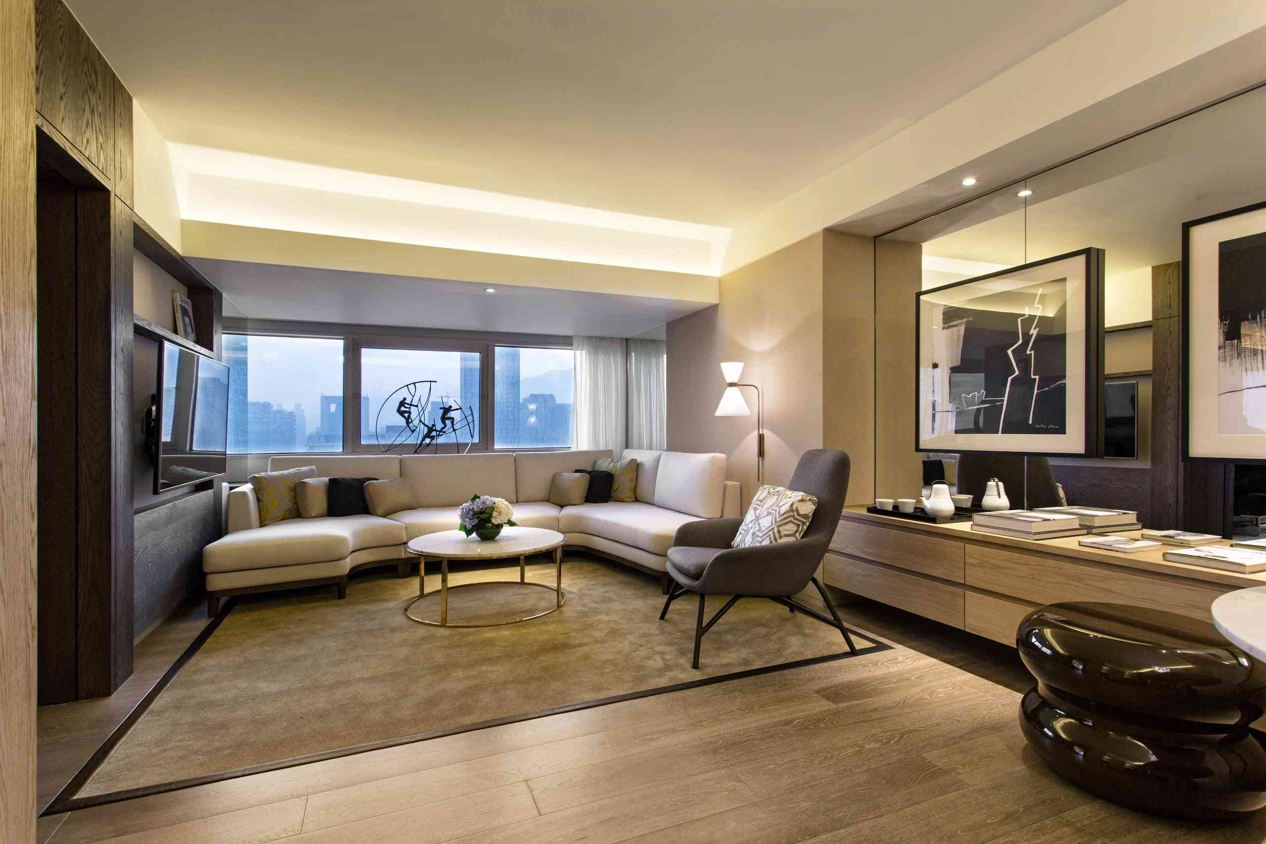 The living room of a Grand Executive Suite at the Grand Hyatt Taipei
