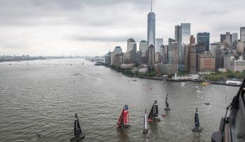 Yachts gather on the Hudson River for the Louis Vuitton America's Cup