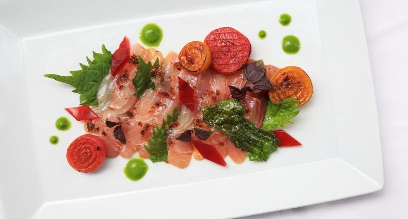 Sea bream sashimi with beets bonito and shiso