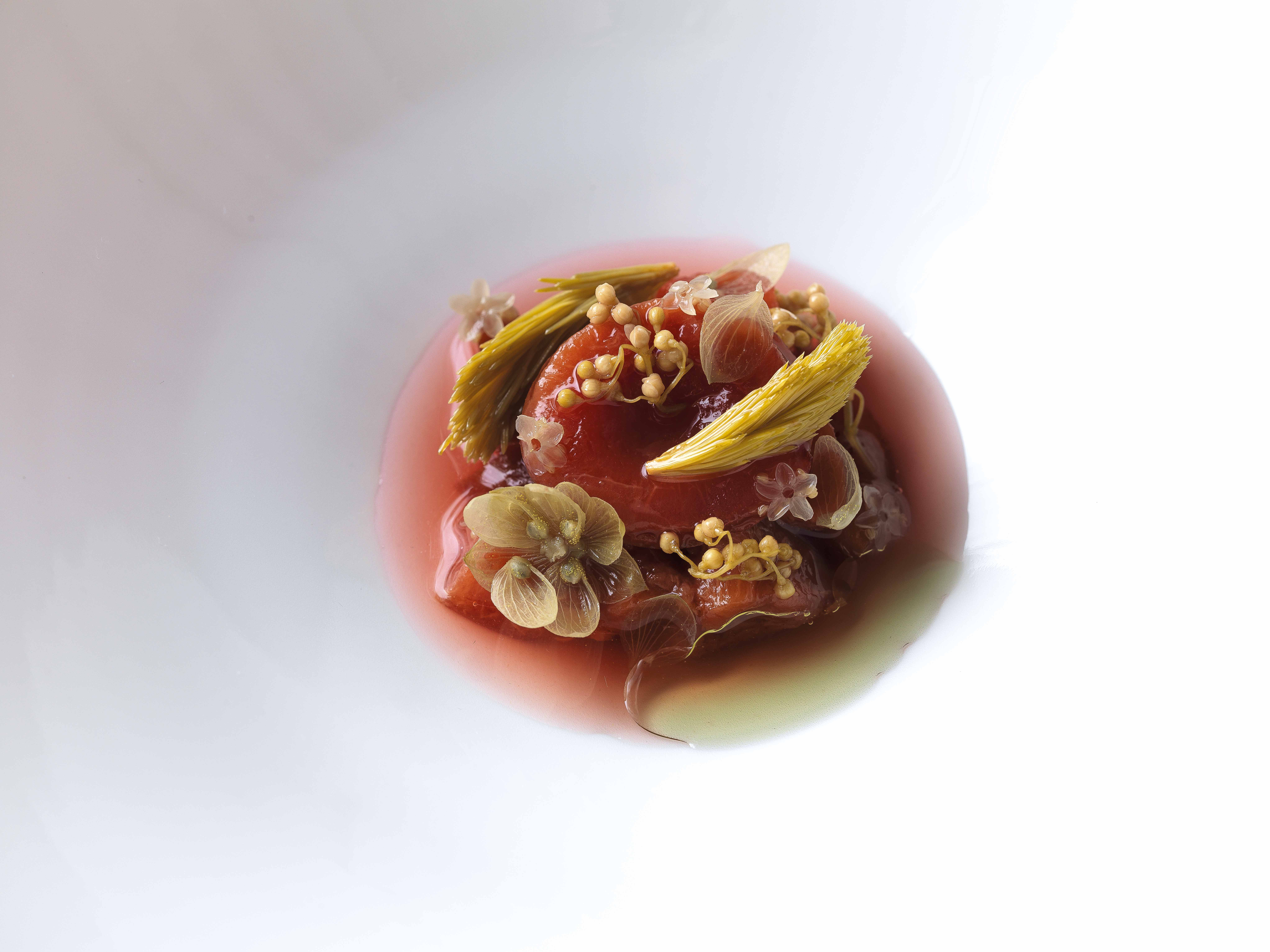A dish at Eisunternull concoted from plums, hops and elderflower