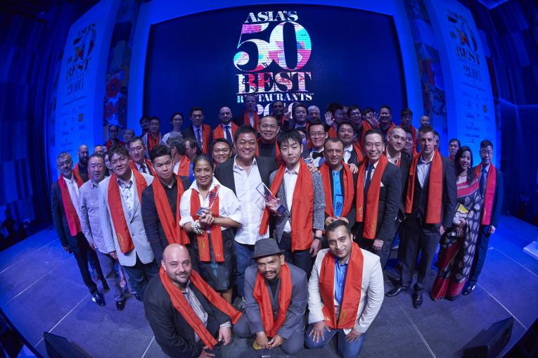 The winning chefs on stage. Photo: Asia's 50 Best Restaurants 2016, sponsored by S.Pellegrino & Acqua Panna