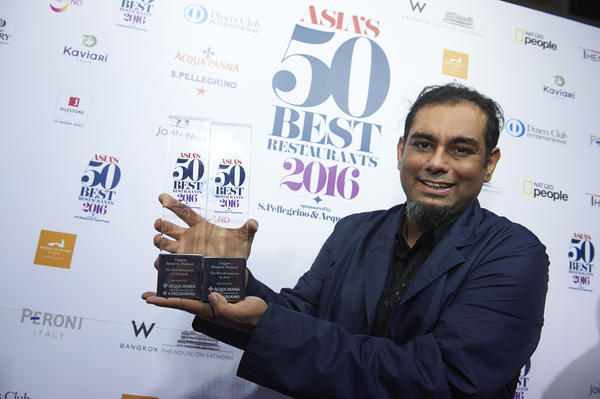 Gaggan Anand takes the top spot at Asia's 50 Best. Photo: Asia's 50 Best Restaurants 2016, sponsored by S.Pellegrino & Acqua Panna
