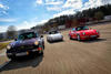 A TRIO OF 911S AT THE WEISSACH TEST TRACK, FROM LEFT: 964 COUPE, 911 CLUBSPORT, 993 TURBO COUPE