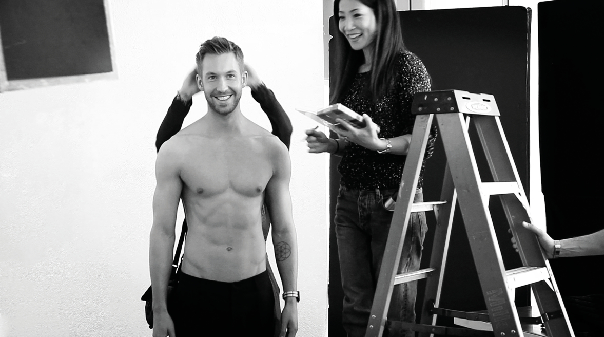 CALVIN HARRIS ON SET FOR EMPORIO ARMANI