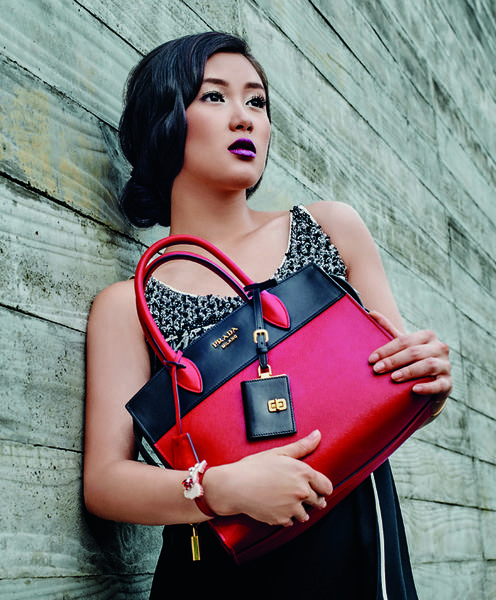 Prada Red and Red Esplanade Bag in Saffiano and City Calfskin