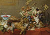 Still life with fruit, dead game, vegetables, a live monkey, squirrel and cat