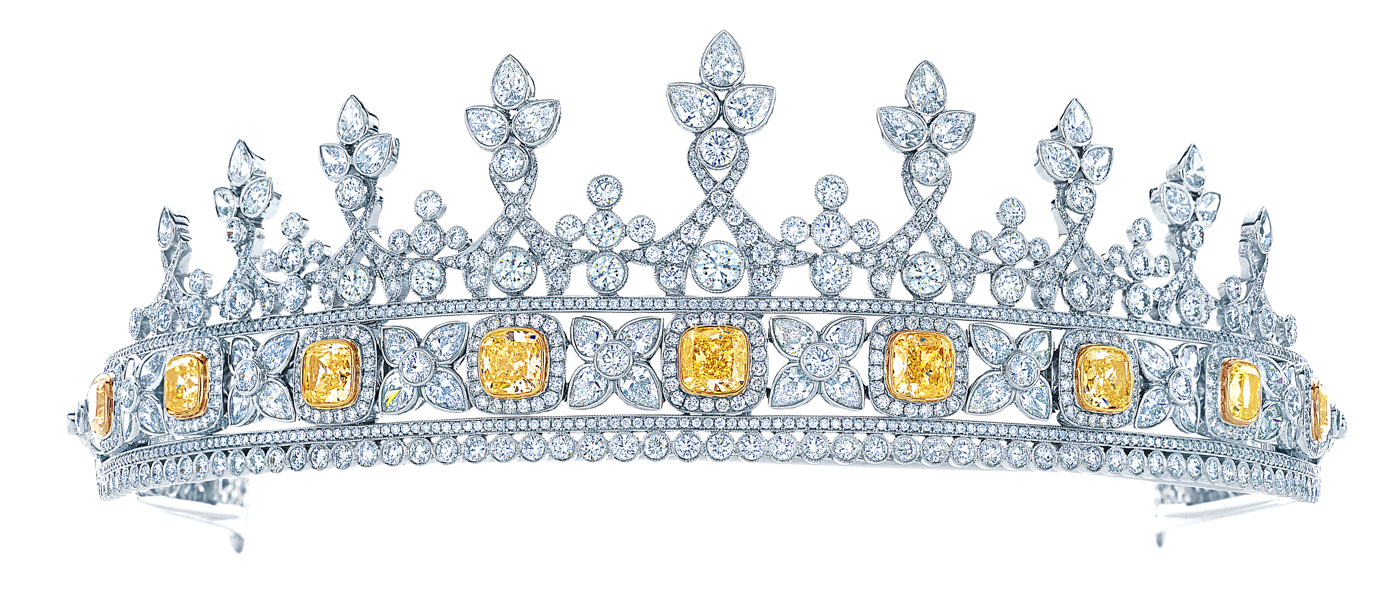 Platinum tiara, strung with nine fancy intense yellow diamonds totalling 8.43cts