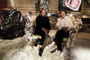 Silvia Venturini Fendi and Maria Pergay pose on Chaise Lion