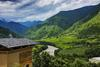 Punakha - The view from the terrace of a room at Uma Punakha