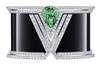 A white gold apotheosis bracelet with a 16.51-ct tsavorite, onyx and diamonds.