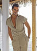 David Gandy in a sand polyester shirt and sand cotton linen pants, both from Bottega Veneta