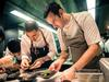 Chefs Andre Chiang and Matthew Orlando in the kitchen