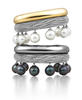 Cuffs of diamonds set in 18k white gold with south sea white cultured pearls and 18k yellow gold and Tahitian cultured pearls in 18k white gold