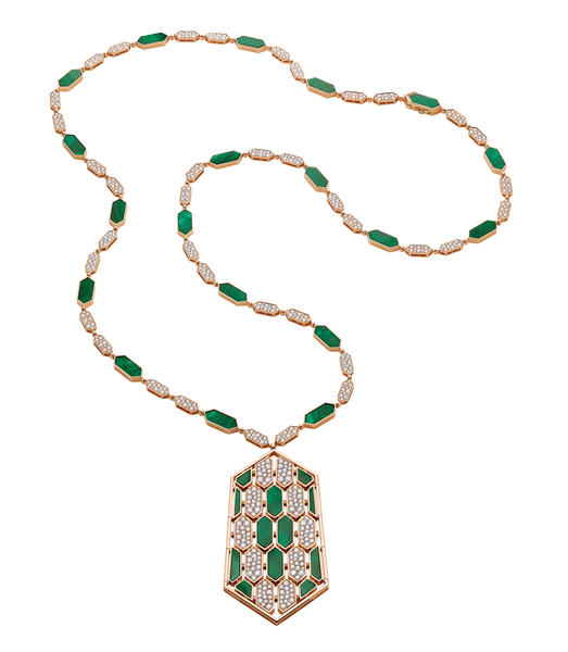 High jewellery Serpenti necklace in pink gold set with malachite and diamonds