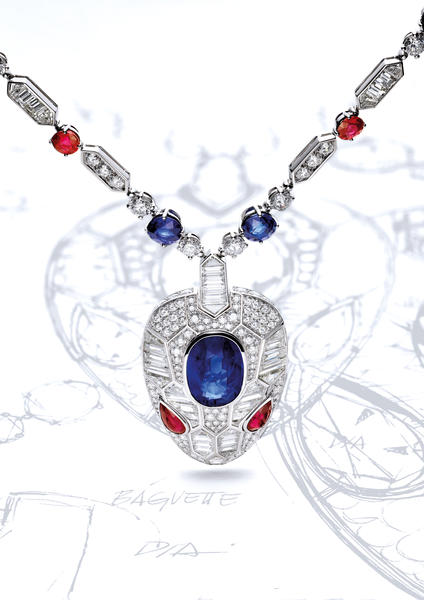 Serpemti Seduttori high jewellery necklace with a 13.55-CT Sri Lankan sapphire, sapphires, diamonds and rubies