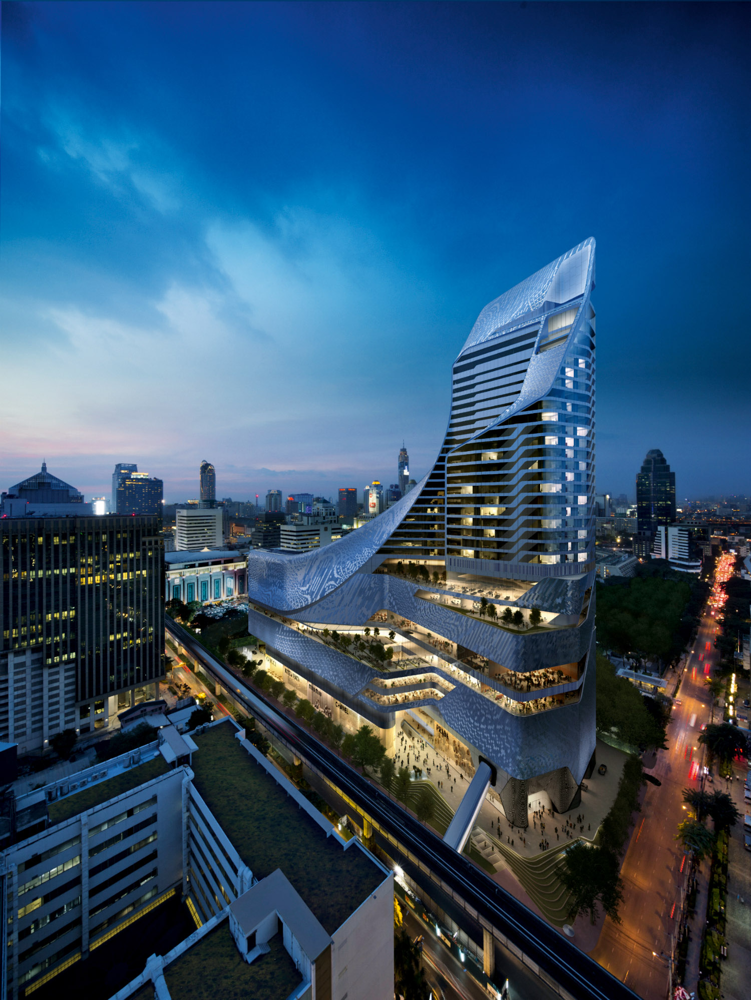 A computer rendering of the finished Hyatt Bangkok