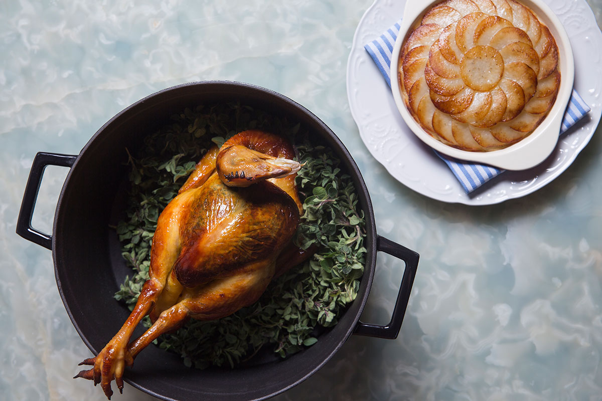 Whole Roast Chicken w Pommes Anna. Photo courtesy of Blacksheep Restaurants