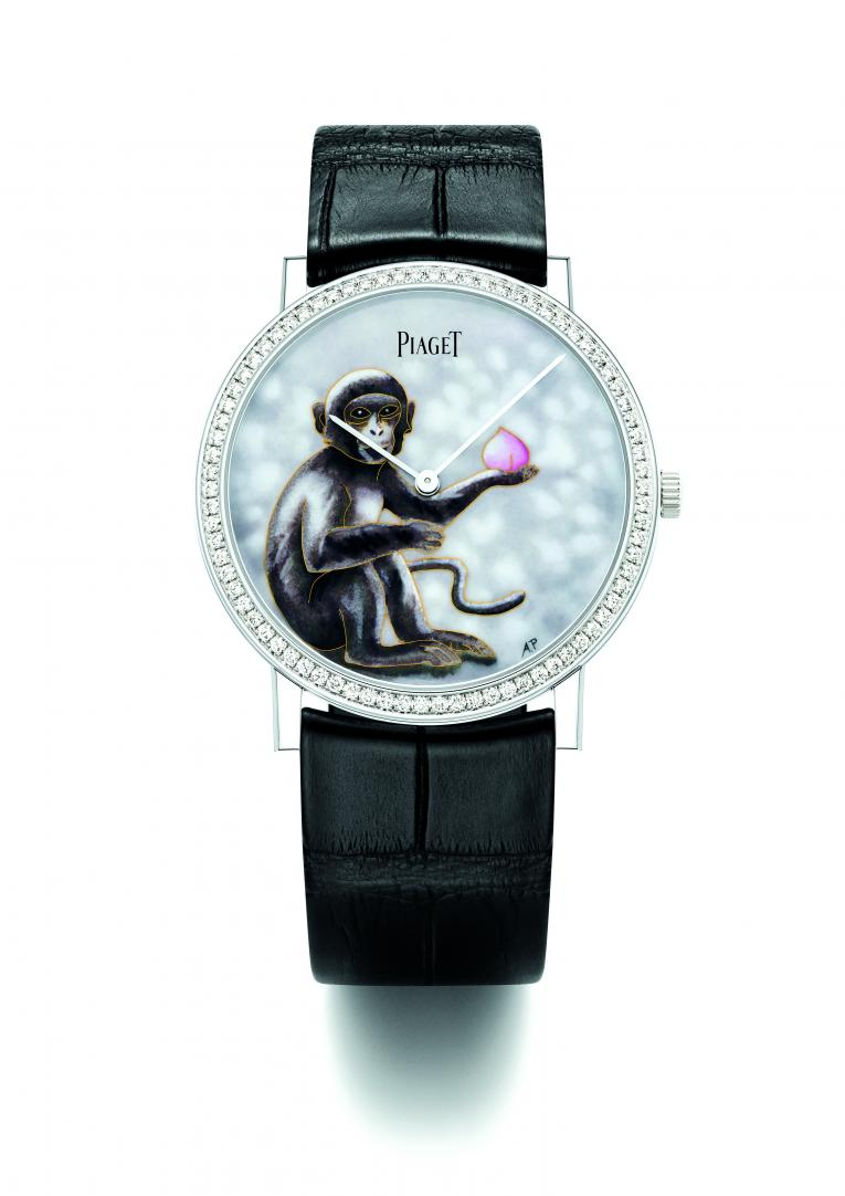 "Piaget's the 2016 edition of its Altiplano ""Art & Excellence"" collection featuring a monkey"