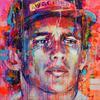 A canvas painting of Ayrton Senna by Marta Zawadzka