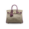 What makes this Birkin 25 so valuable is the crocodile in Gris Tourterelle, one of the most sought after purples.