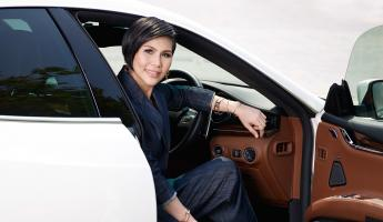 Pornsarin Maethivacharanondh; Blazer and trousers by Sanshai, Shoes by Sergio Rossi, Jewellery by Tiffany & Co, Car by Maserati (Quattroporte); Photography by Apichart Chaichulla