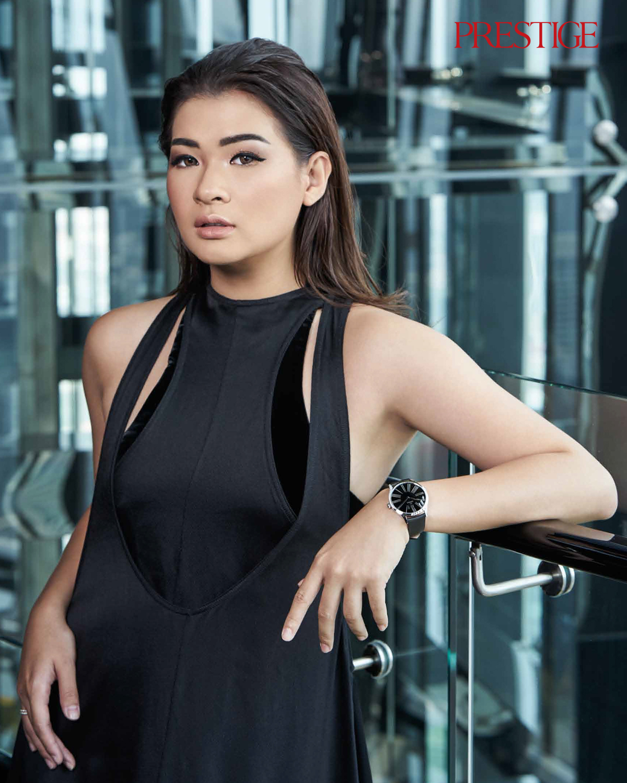 BTS of Anastasia Siantar models the Omega De Ville Trésor collection