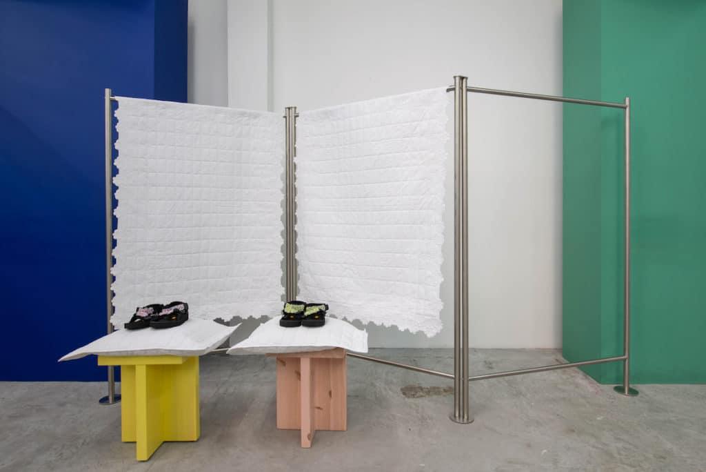 Cecilie Bahnsen X Suicoke installation at Dover Street Market Singapore