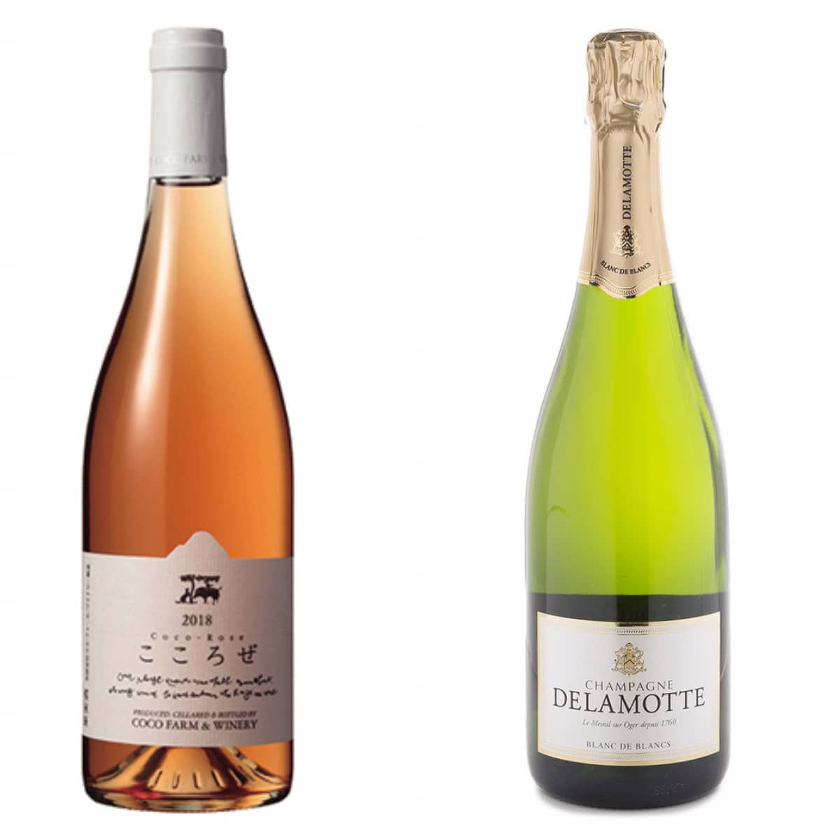 The Coco Farm & Winery Coco Rose 2015 and Delamotte Blanc de Blancs N.V.
