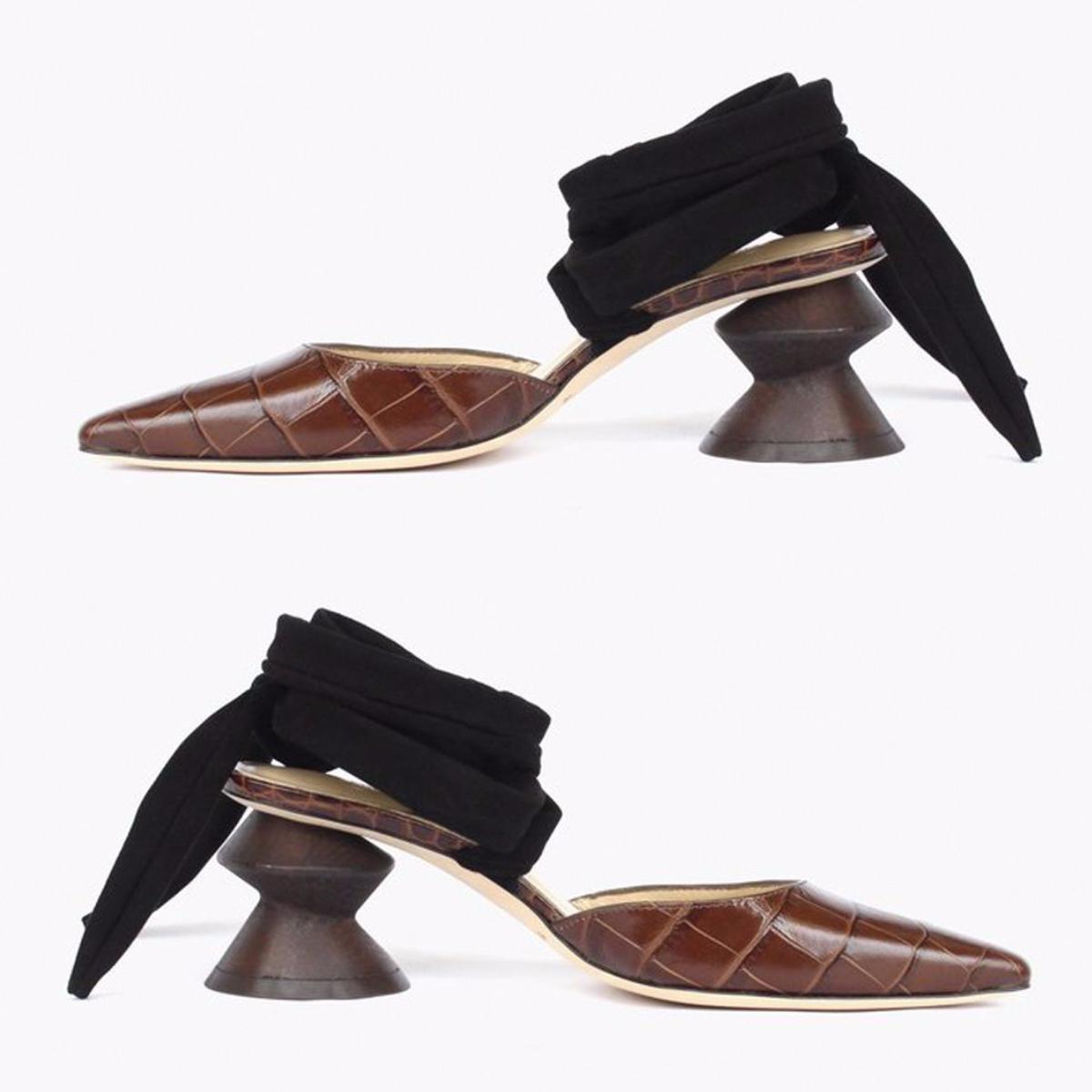 Regina Pyo Barbara Zig Zag Heel Leather Croc Brown
