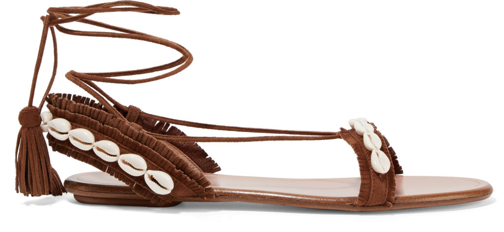 Aquazzura exclusive Honolulu shell embellished suede sandals from net-a-porter.com