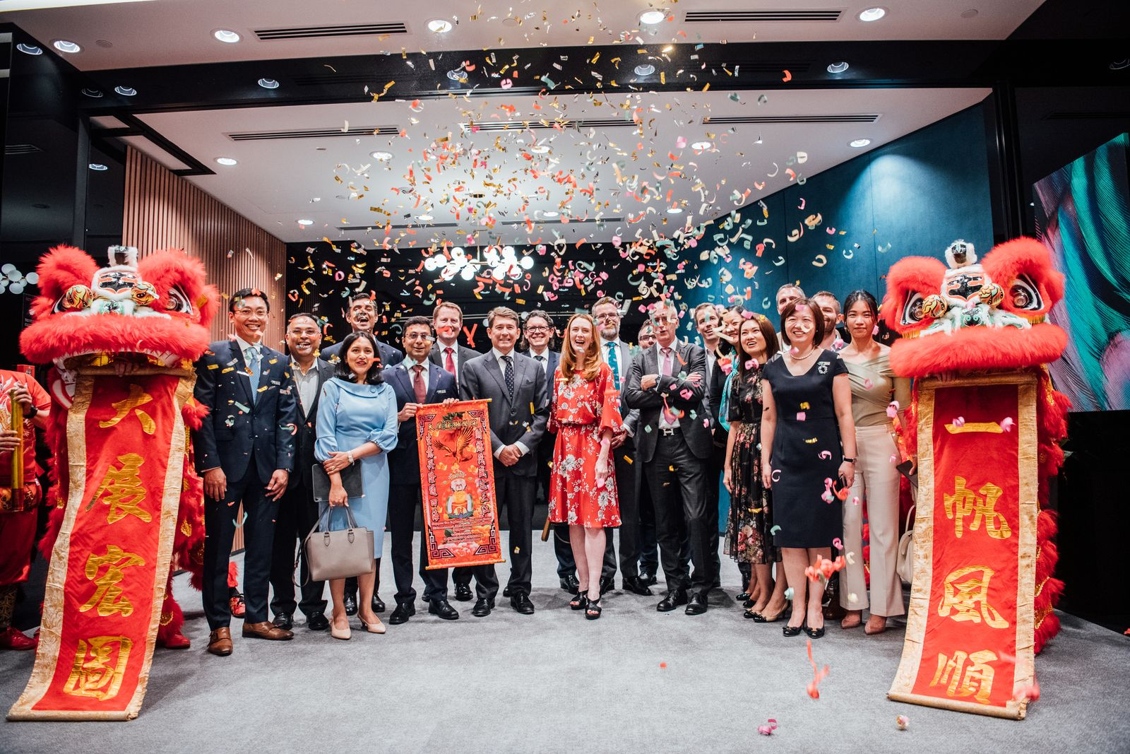 HSBC senior executives and guests celebrating the officially opening of HSBC Jade Centre at Jewel. (Photo: HSBC)