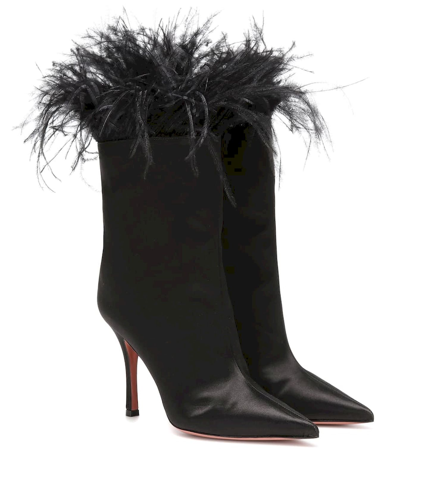 Amina Muaddi Nakia feather-trimmed ankle boots, $1,289, www.mytheresa.com