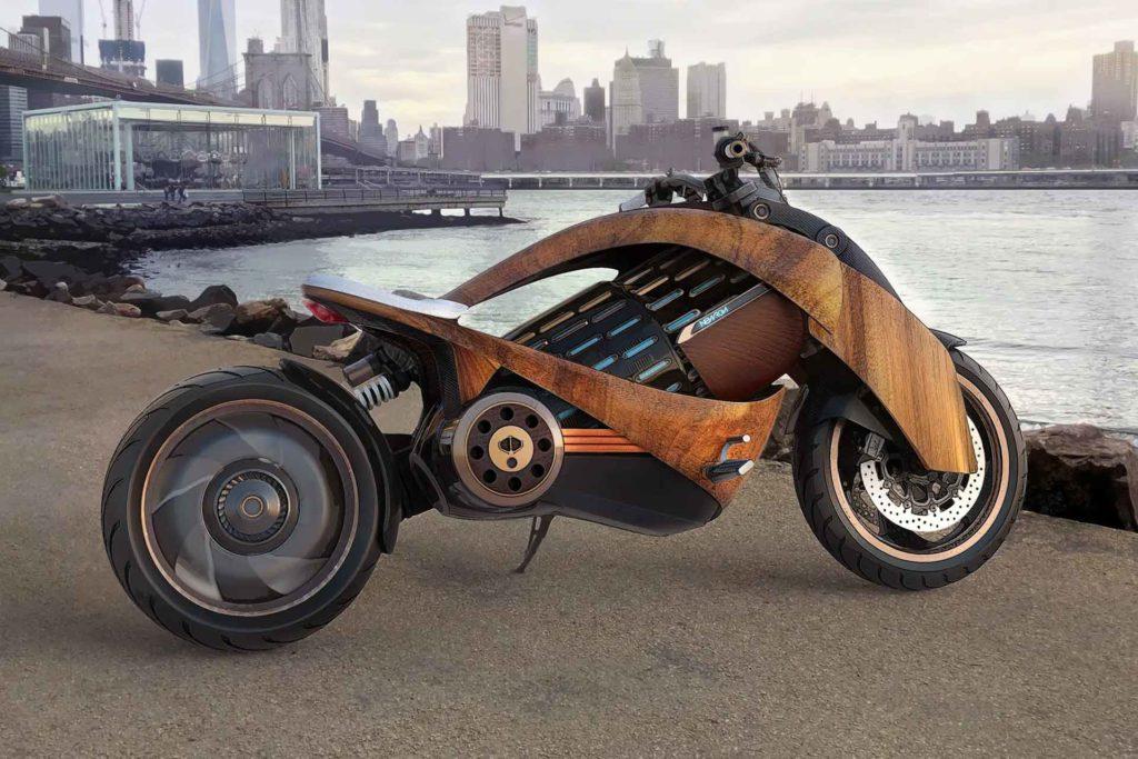 newron motors EV-1 wooden motorcycle