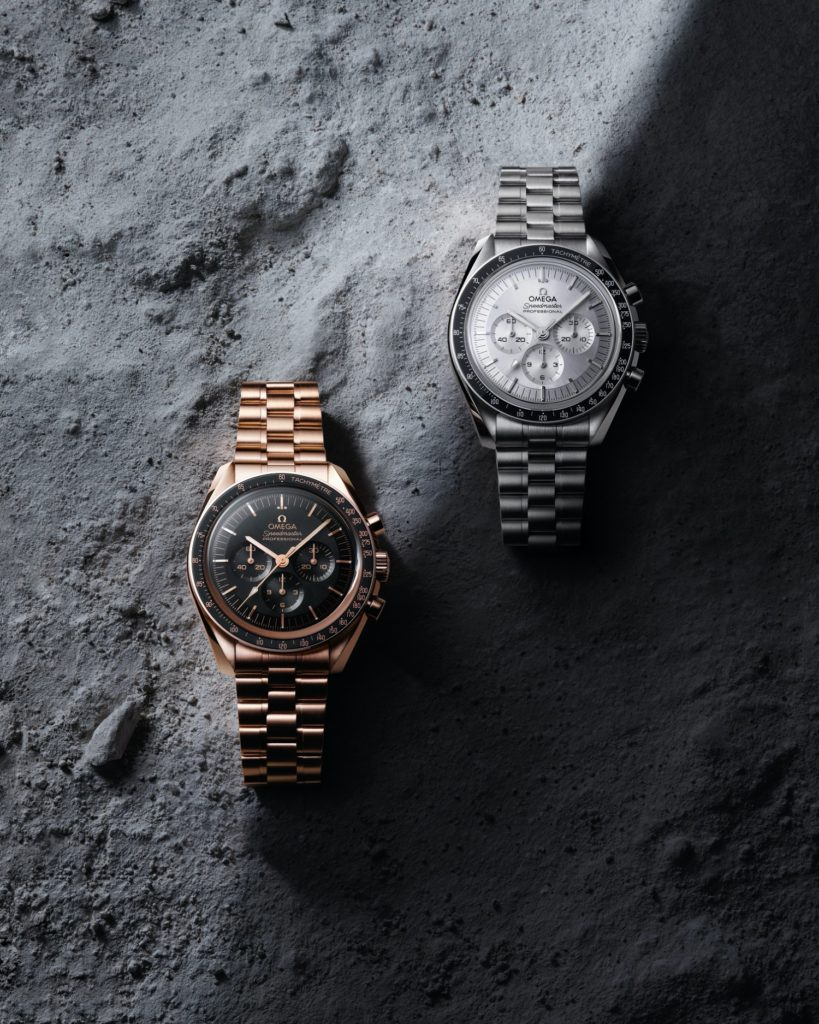 The Omega Speedmasters in Sedna gold and Canopus gold