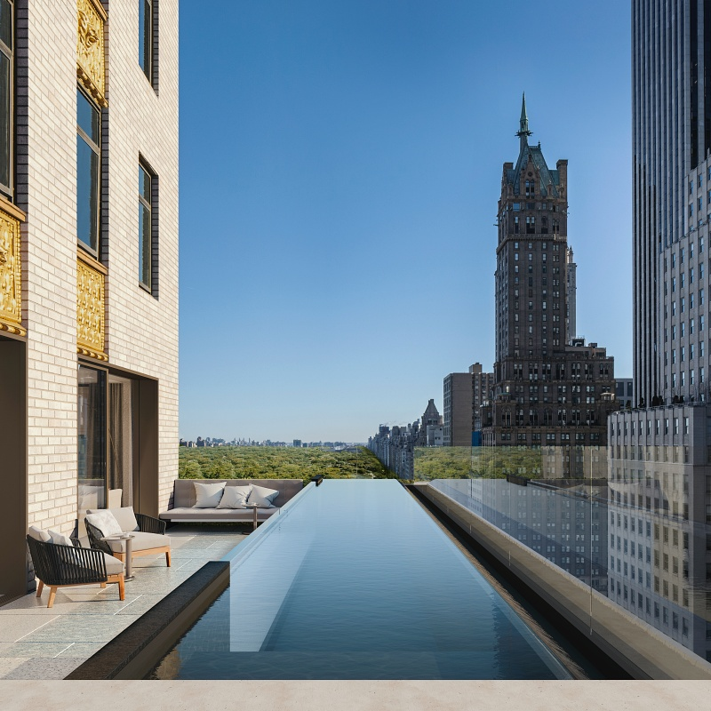 Pool views at the luxurious residences at the Aman New York