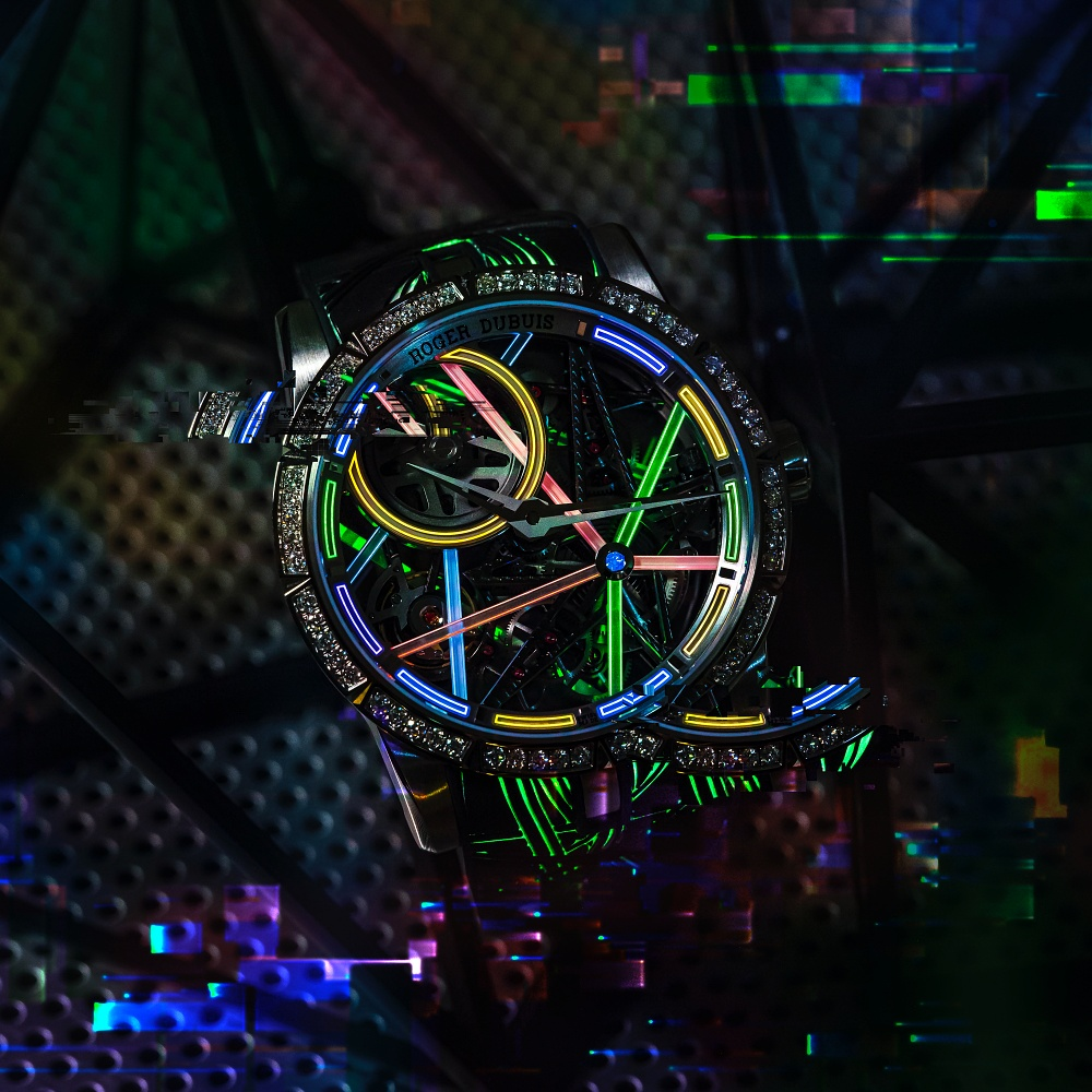 Roger Dubuis Excalibur Blacklight inspired by neon signs