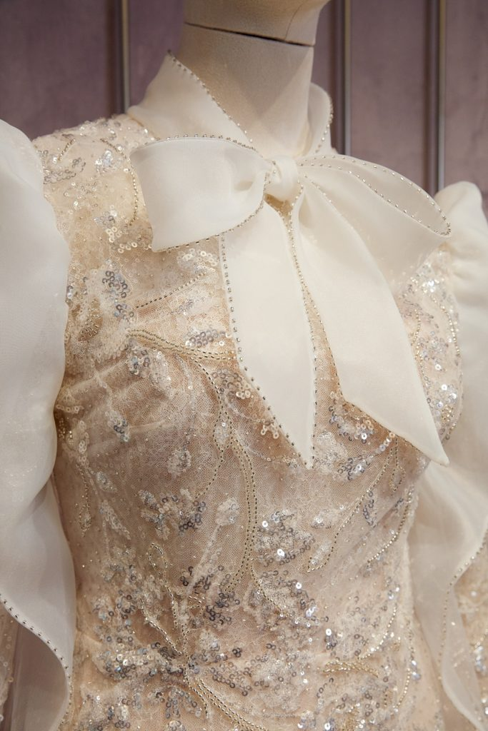 Embroidery details on Sennet Frères Spring 2021 gown