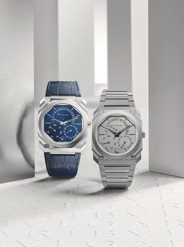 The Bulgari Octo Finissimo Perpetual Calendar in platinum (left) and titanium (right)
