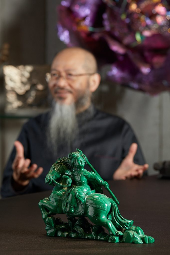 Wallace Chan malachite sculpture, early work