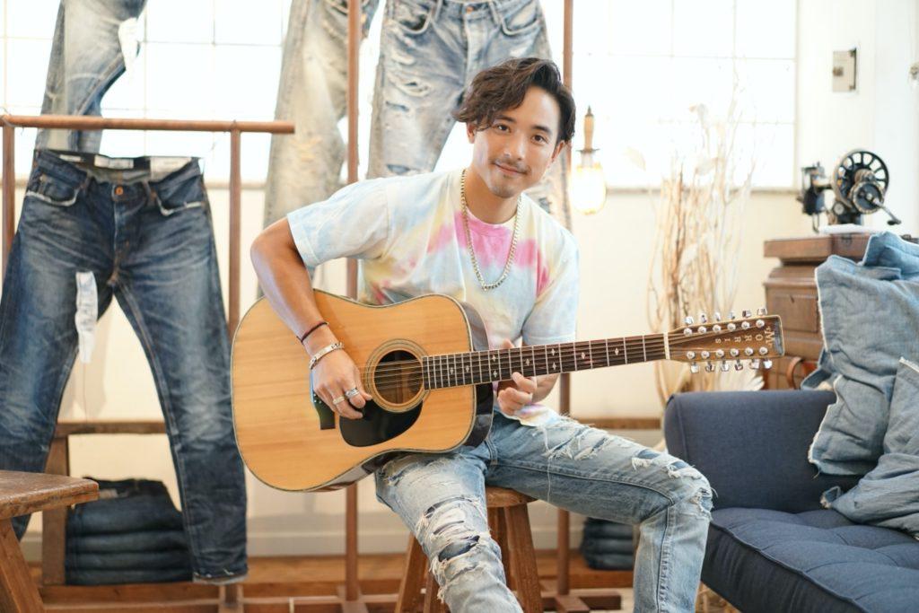 Alex Lam wearing custom Washi Jeans
