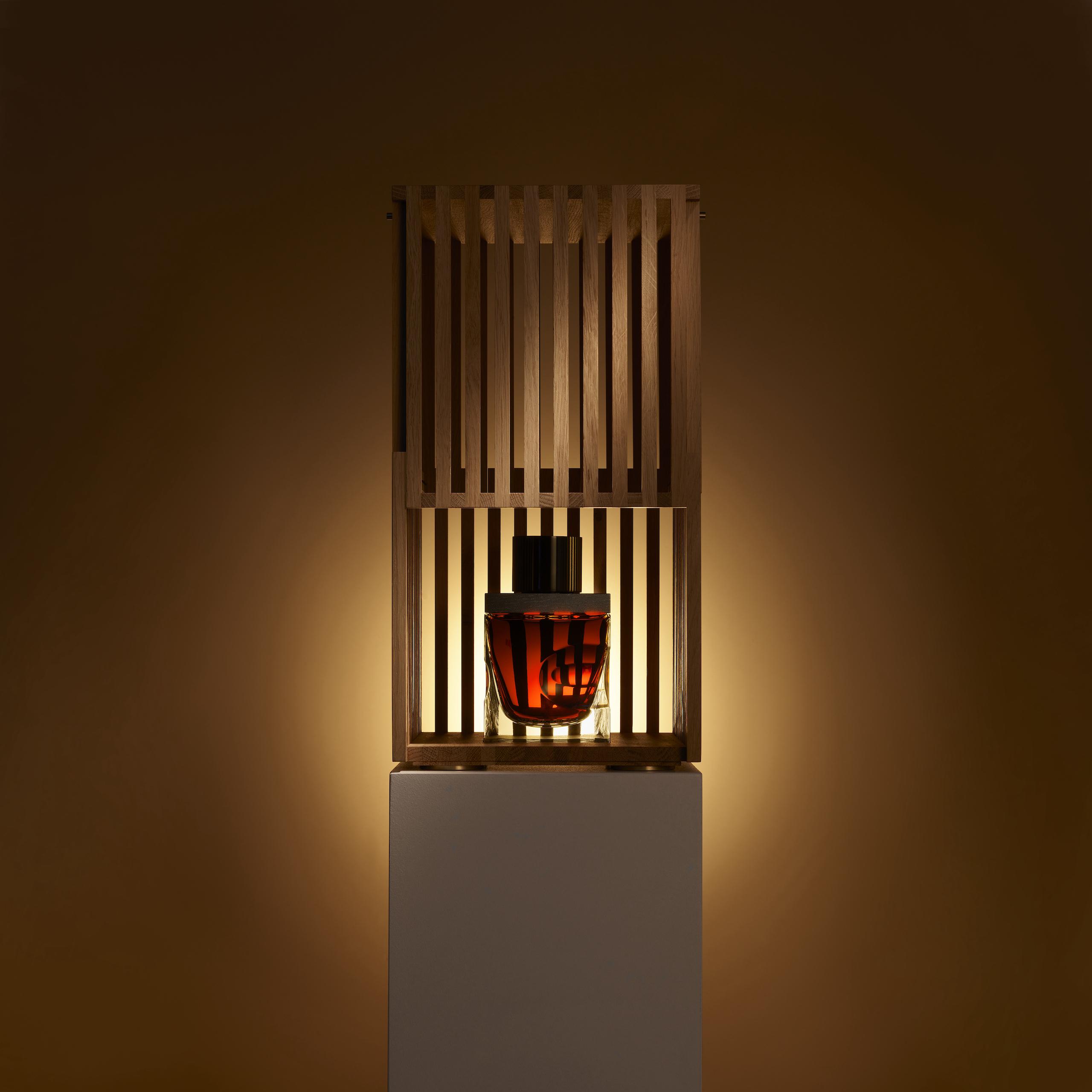 "Award-winning Ghanaian-British Architect Sir David Adjaye's ""Artistry in Oak"" decanter and case for single malt Scotch whiskey Gordon & MacPhail"