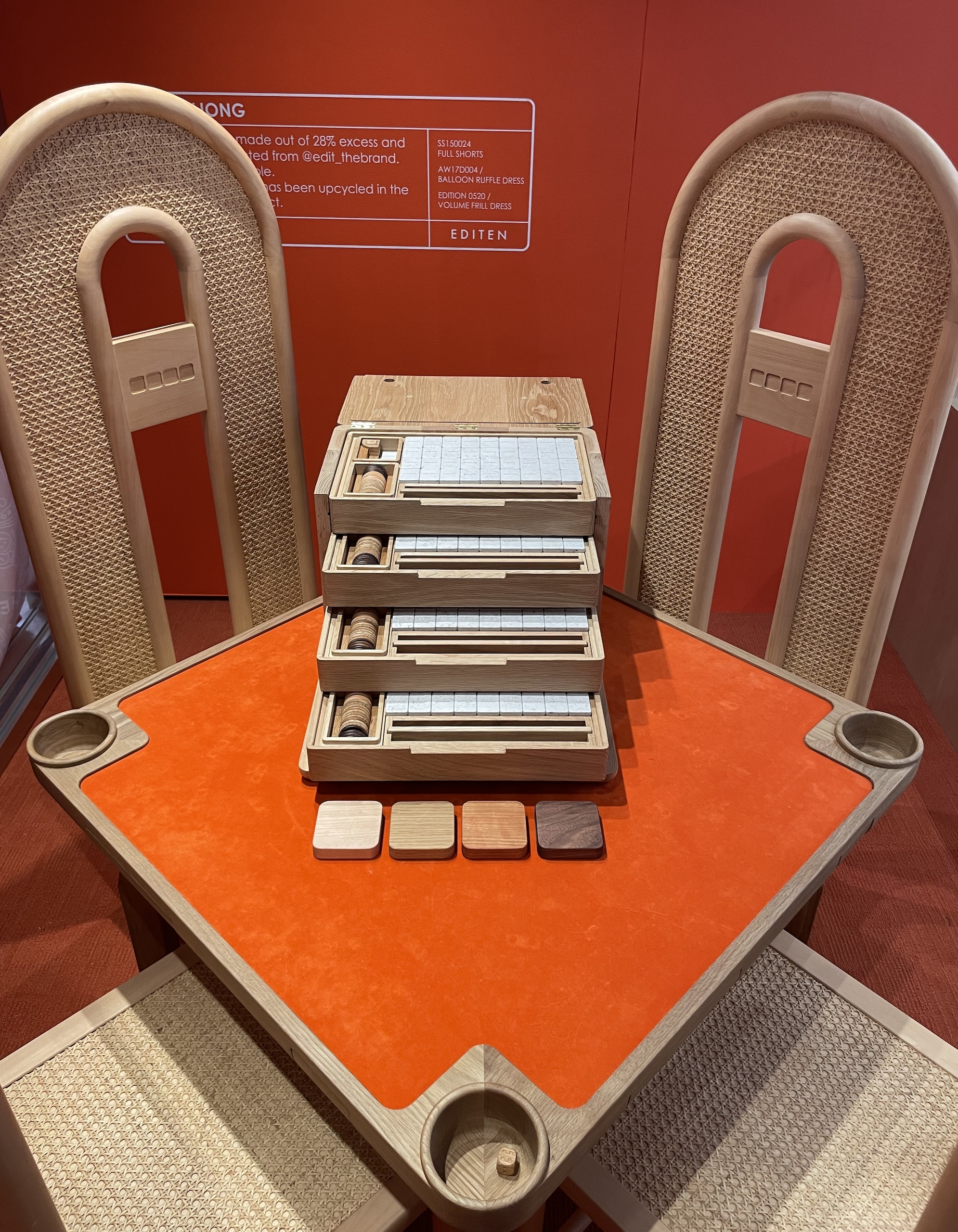 ode to mahjong installation edit x editecture sustainable mahjong set box