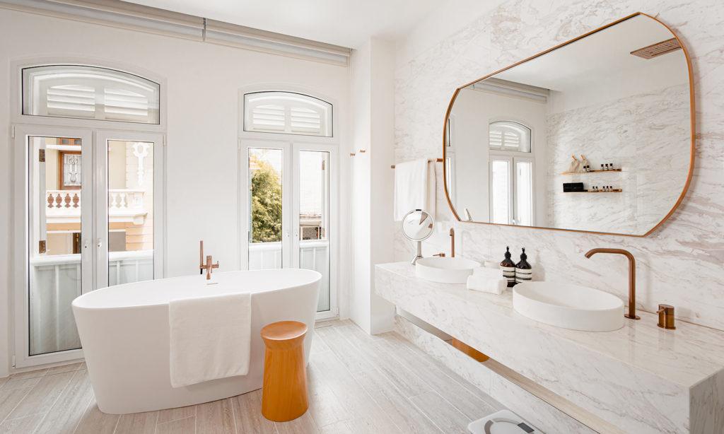 Light fills this spacious bathroom