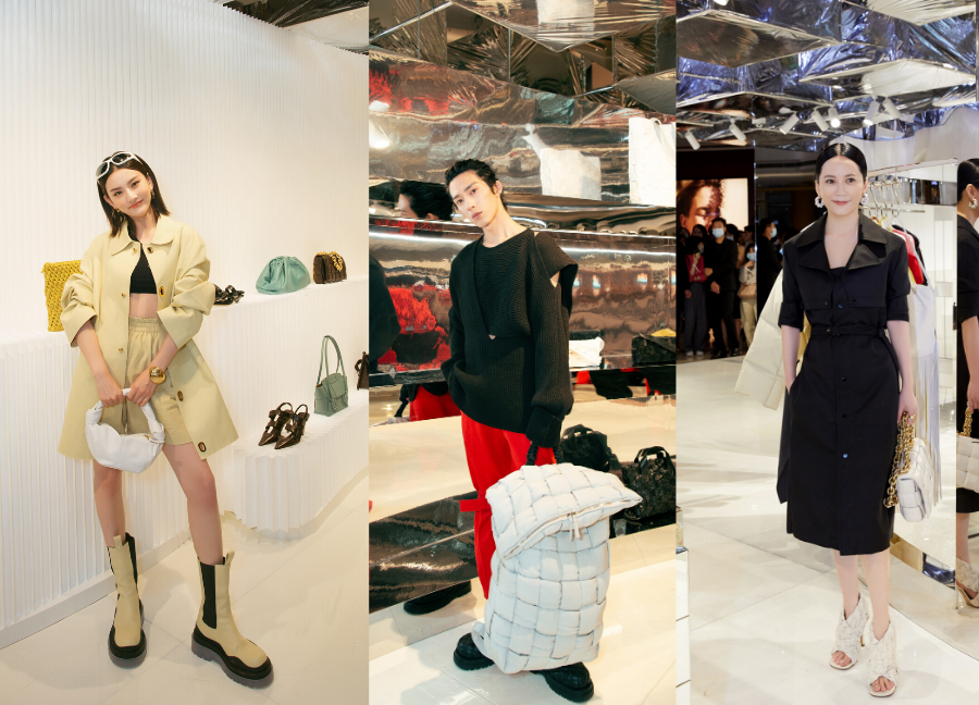 left to right: Song Zuer, Jing Boran and Yu Feihong in Bottega Veneta's PF20 Collection