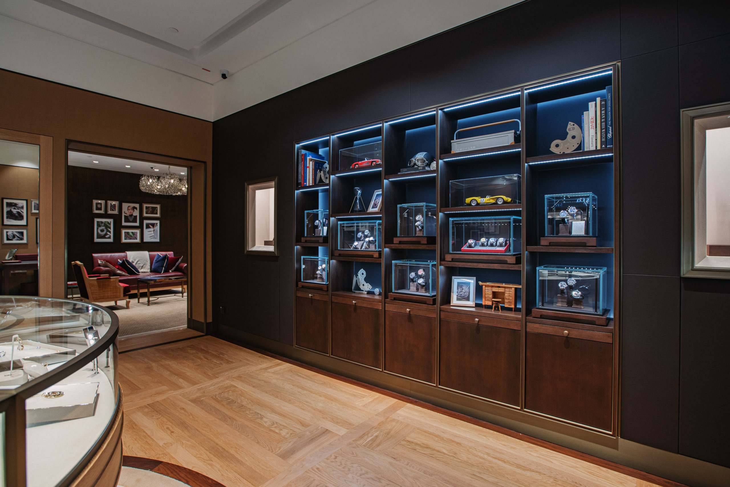 A library display houses three iconic Men's Collections: Alpine Eagle, L.U.C and Mille Miglia. (Photo: Chopard)