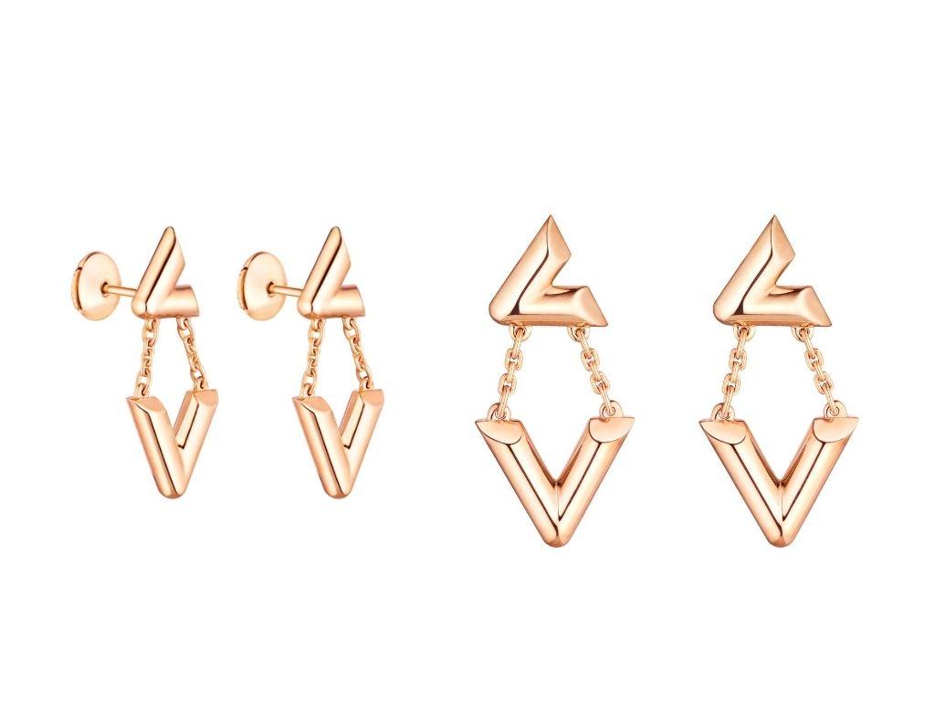 LV Volt Upside Down Earrings in rose gold