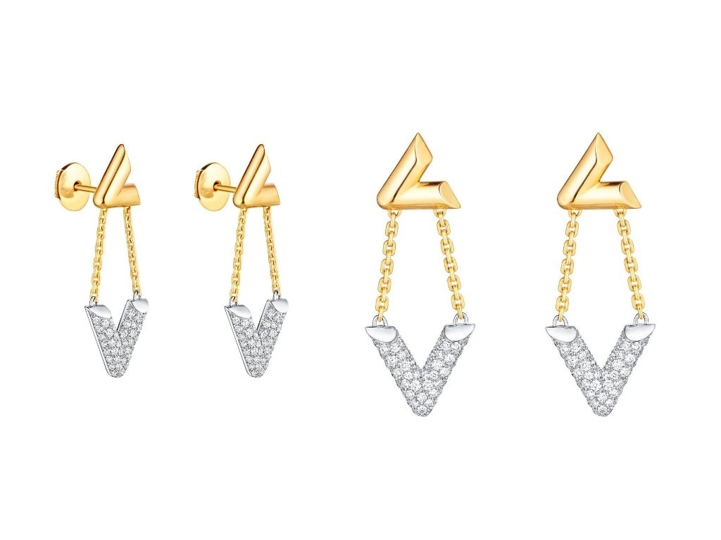 LV Volt Upside Down Earrings with diamonds