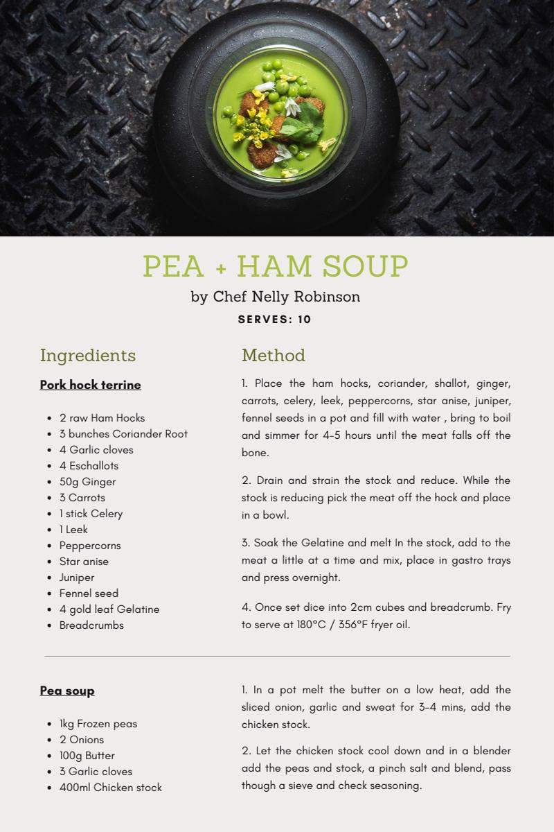 Recipe for Pea + Ham Soup courtesy of Chef Nelly Robinson